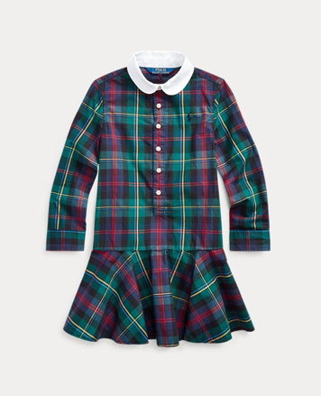 Plaid long-sleeve shirtdress with white collar.