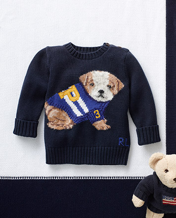 Navy sweater with an embroidered bulldog.
