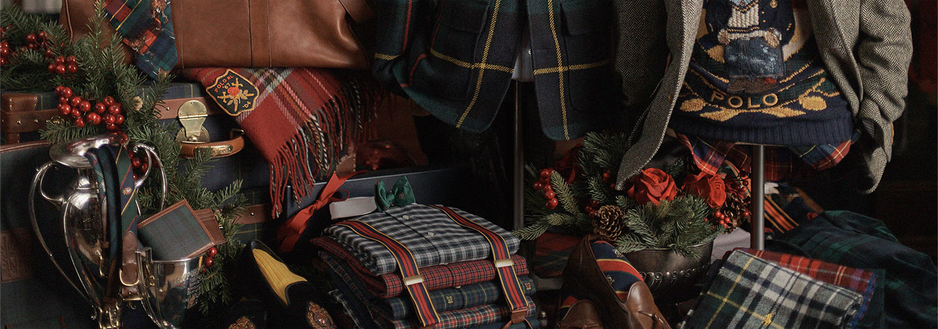 Display of tartan Polo apparel & accessories