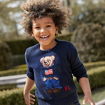 Boy in American flag Polo Bear sweater