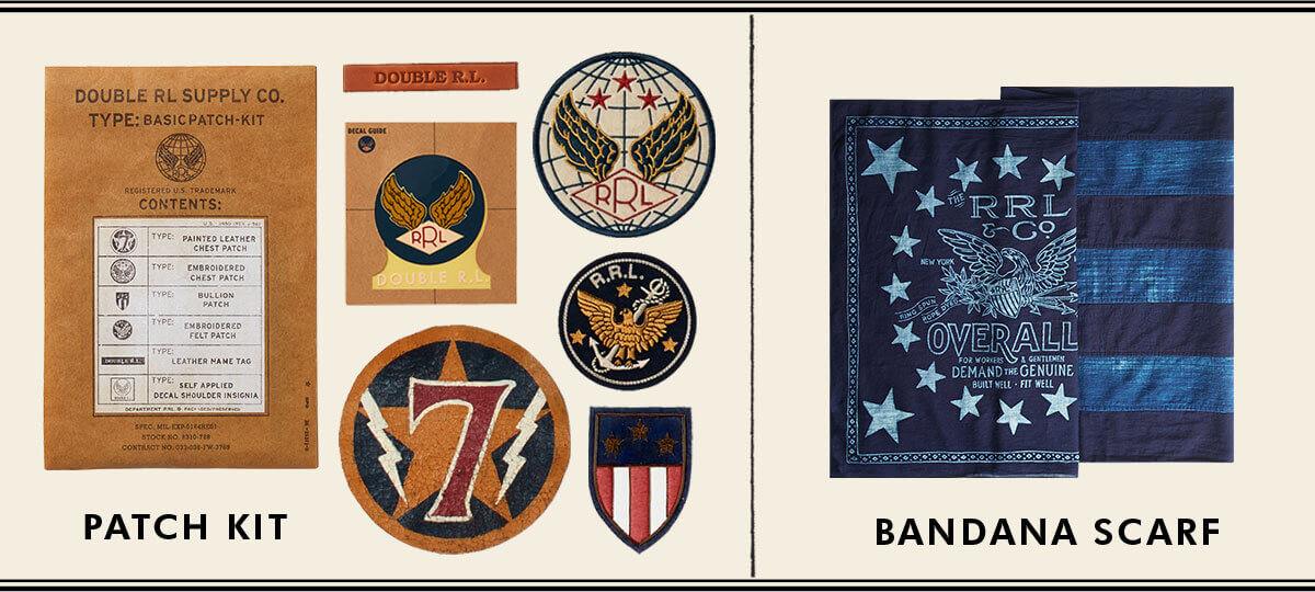 4315092247 Military-inspired patch kit   indigo flag-inspired bandanna ...