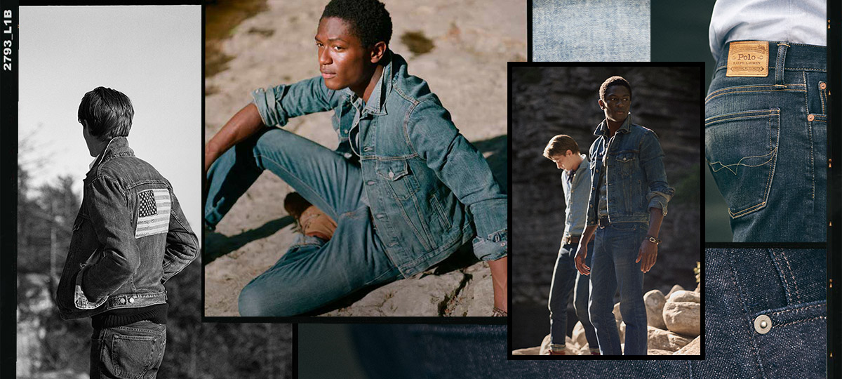 Collage of different Polo denim looks, from stenciled to American flag accented