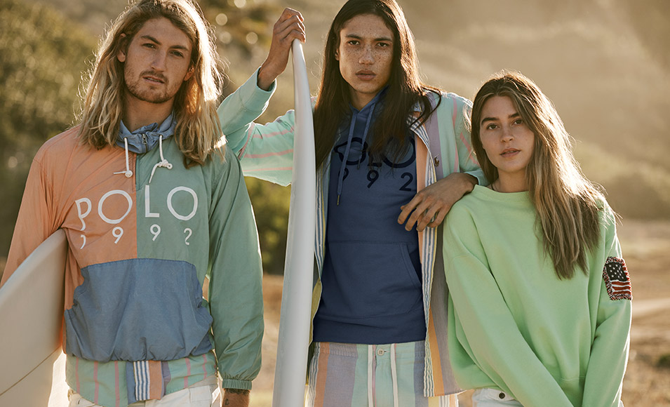 Models wear faded 90s-inspired Polo attire.