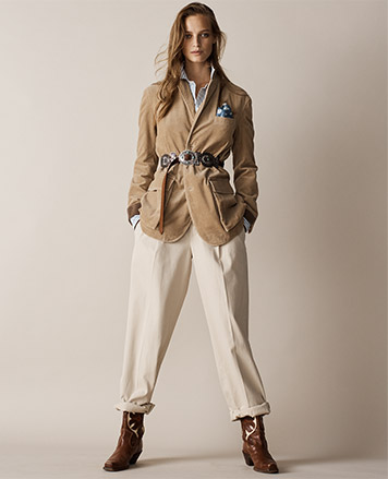 Woman in straight rolled twill pants in cream