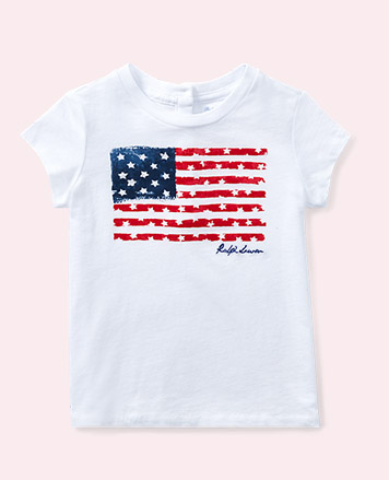 White T-shirt with American flag graphic at the front.