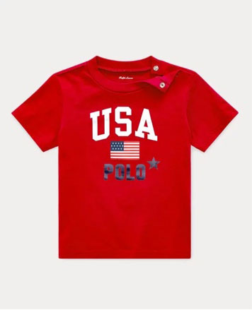 Red T-shirt with USA Polo graphic at the front.