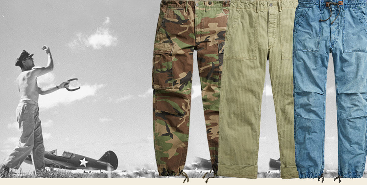 Military-inspired pants with drawstrings at the cuffs
