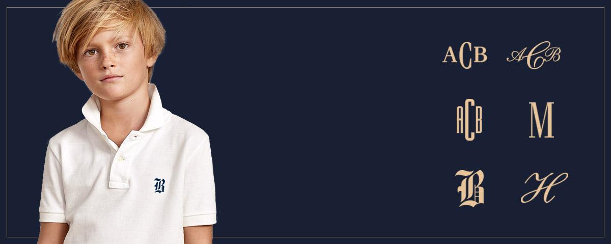 Alternating image of boy wearing personalized Polo shirt.