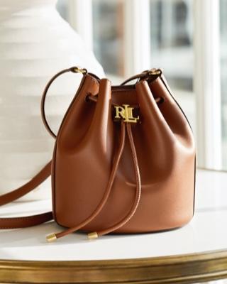 Tan leather drawstring bag with metal RL detailing
