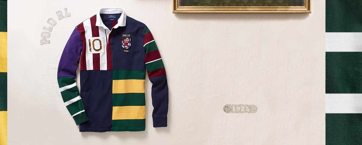 Rugby shirt with a patchwork design in rich hues