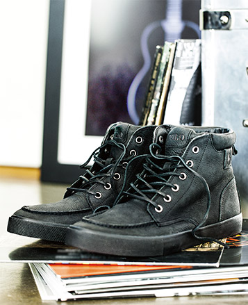 Distressed black leather boots with laces
