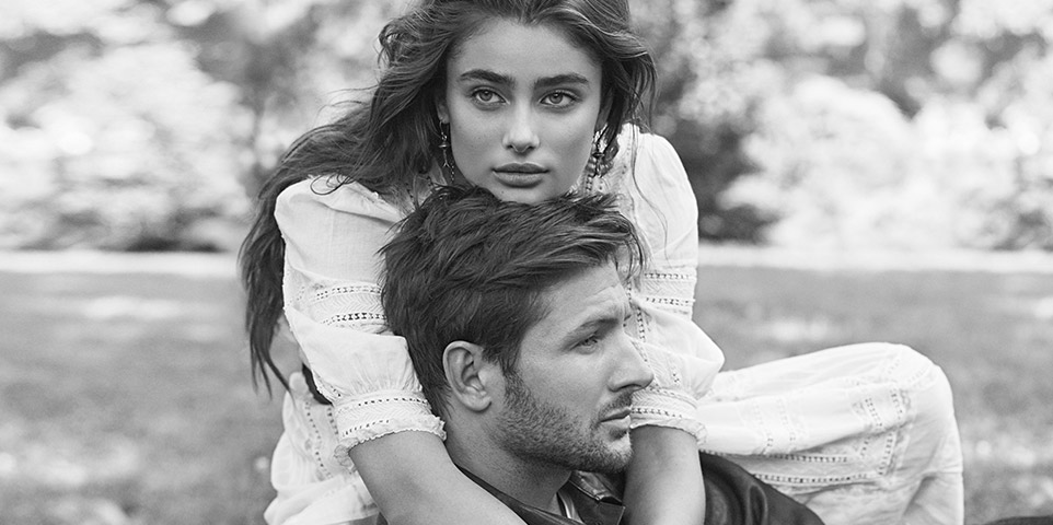 Black and white photo of Taylor Hill and Michael Stephen Shank