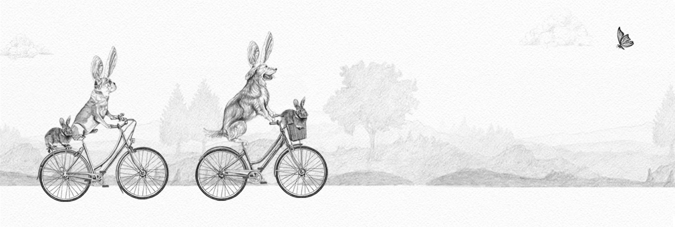 Two dogs riding bicycles with rabbits