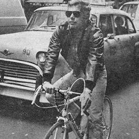 Ralph Lauren riding bike