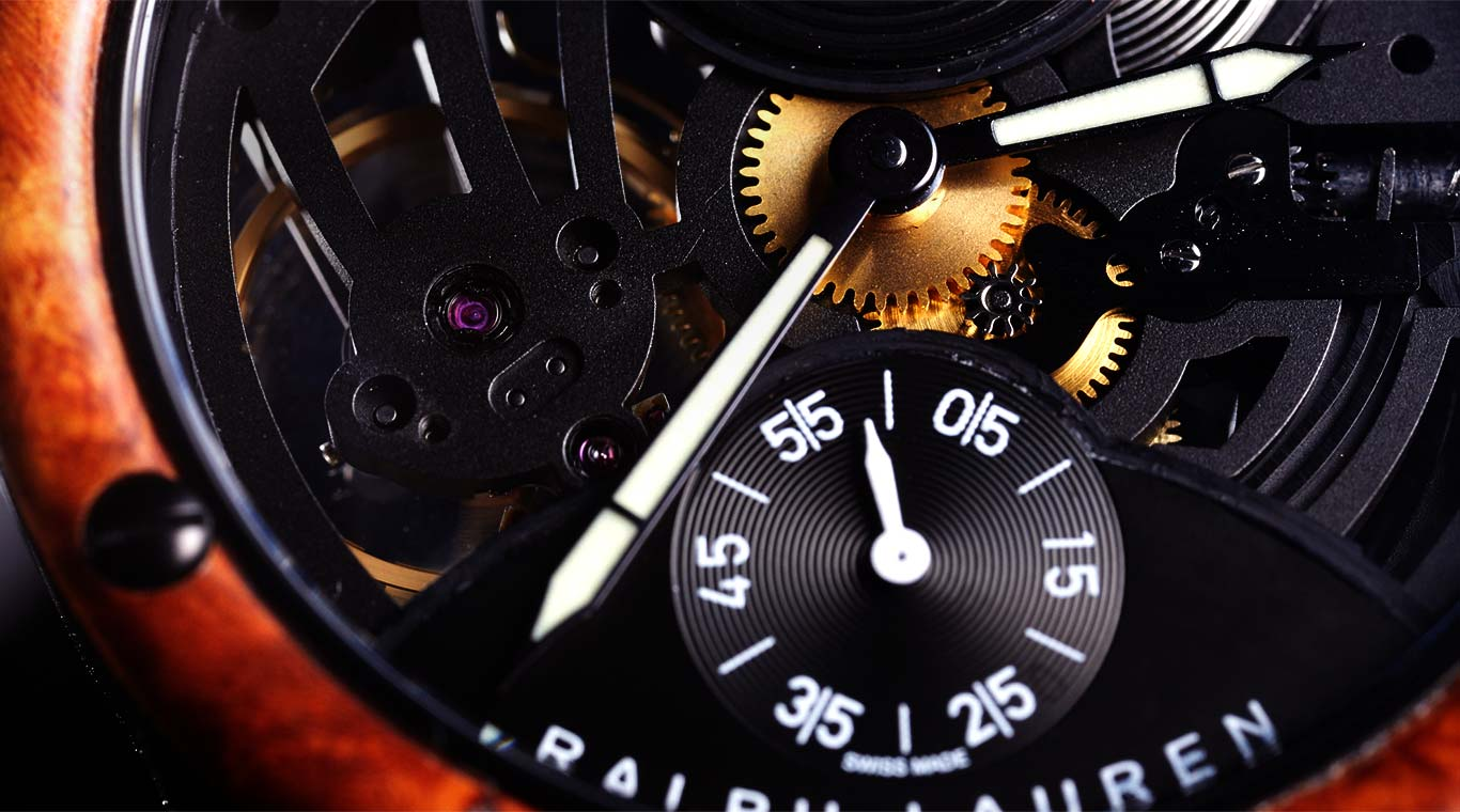 Close-up of Skeleton watch's bezel and exposed movement