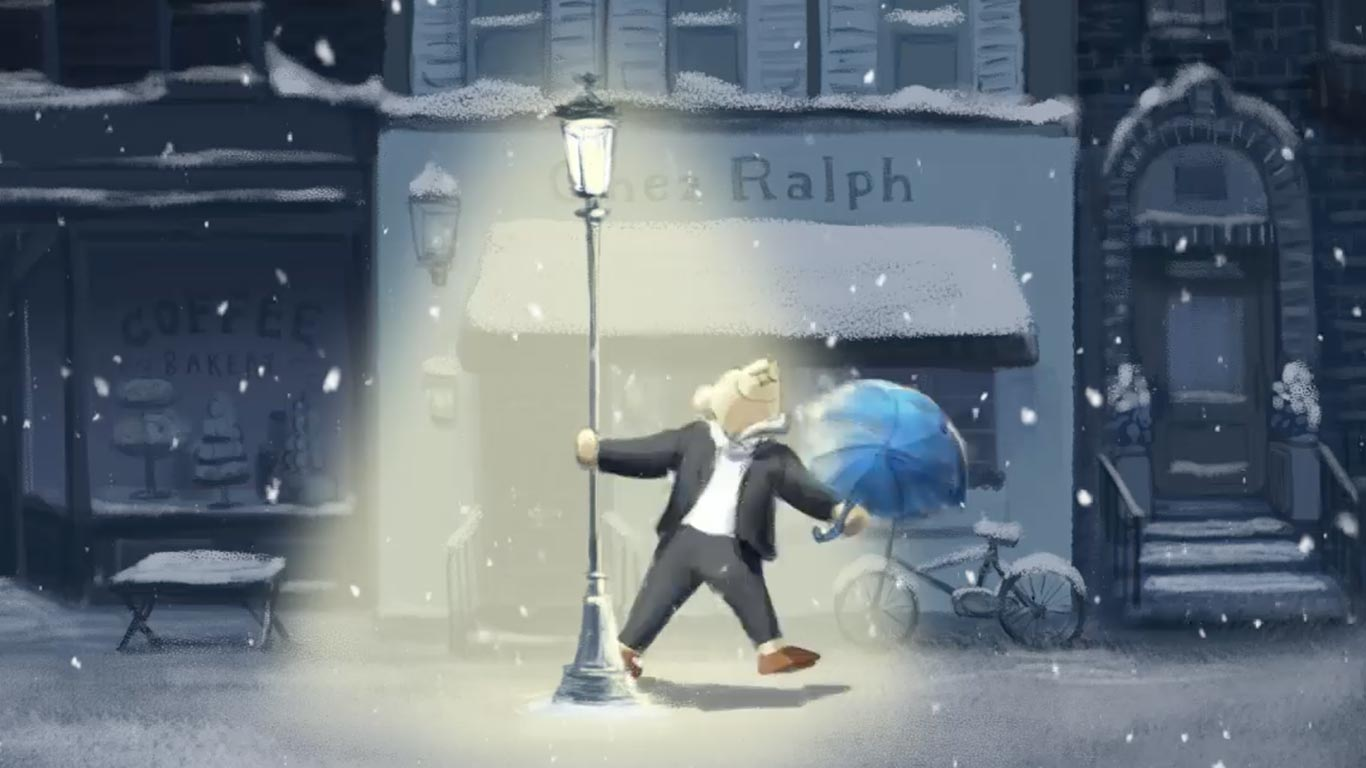 Animation of tuxedo-clad Polo Bear dancing in street with umbrella