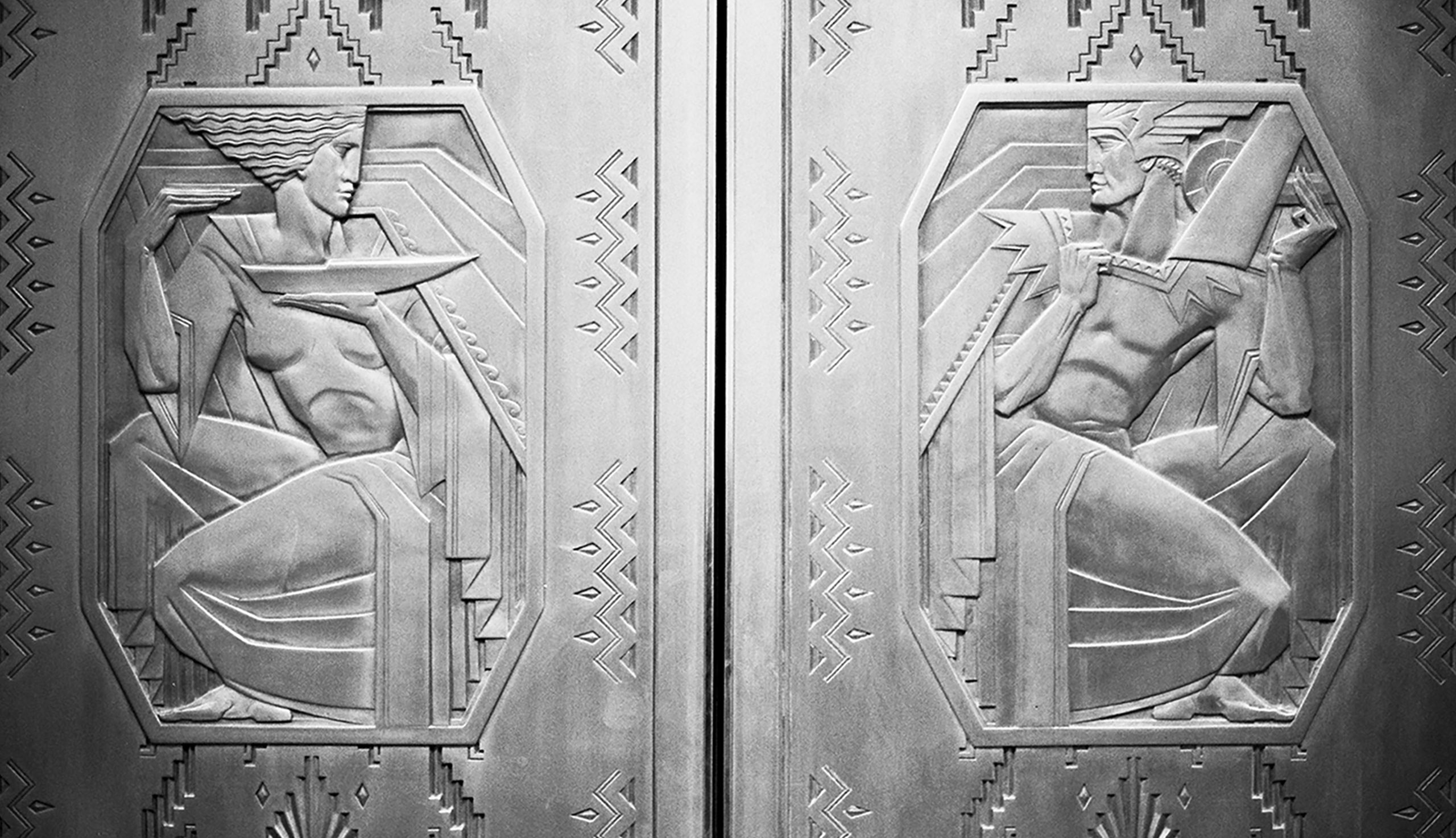 The elevator doors at 100 Barclay
