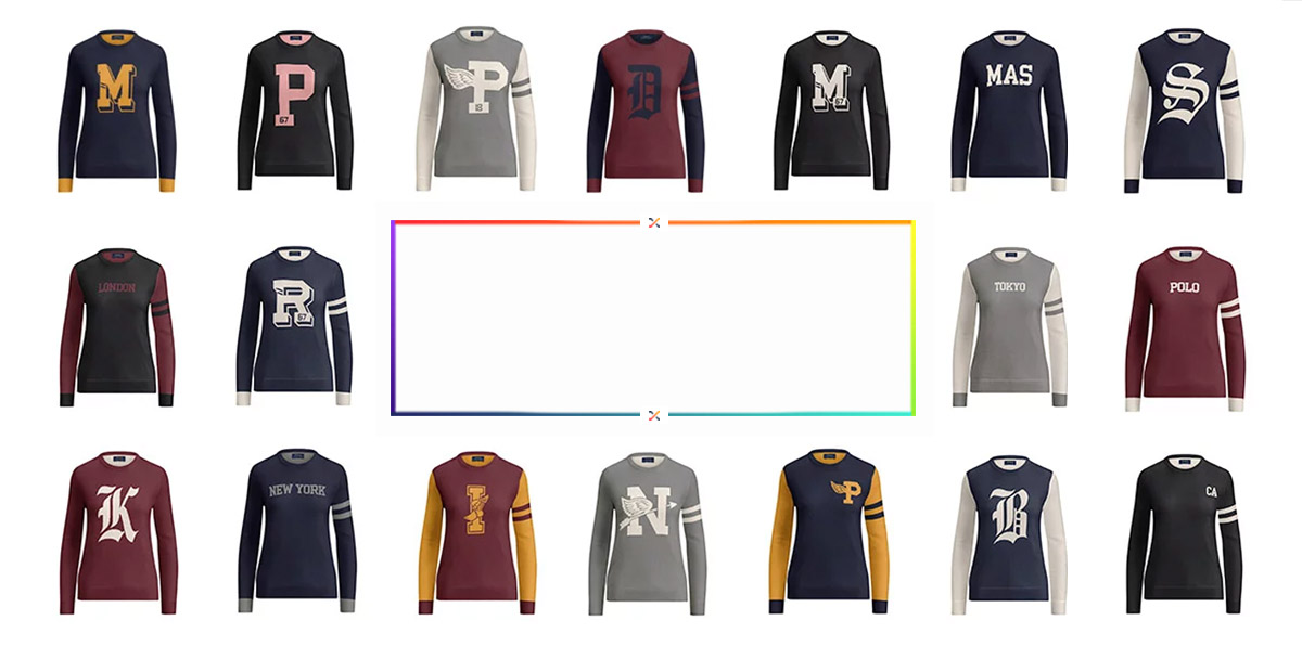 Crewneck sweaters showing different possible customizations