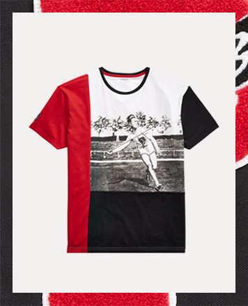 Red, white & black color-blocked tee with javelin-thrower graphic