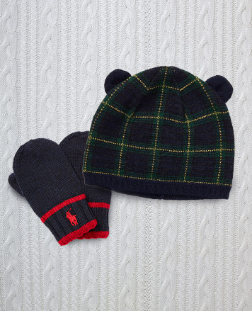 Plaid bear hat and navy striped wool mittens.