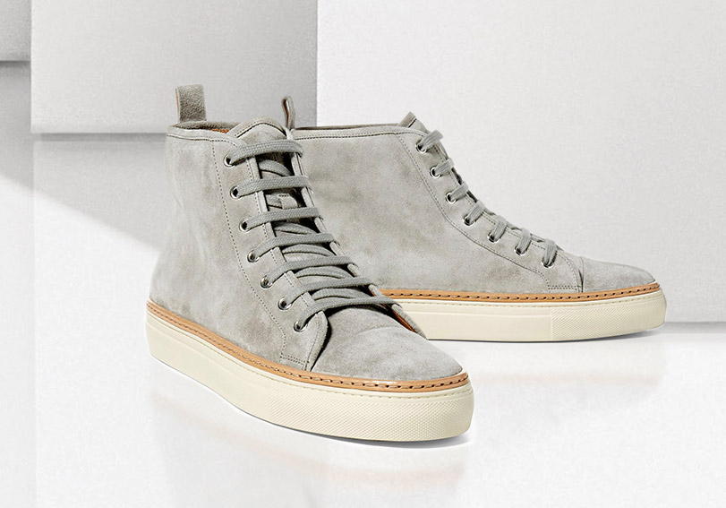 Grey suede high-top with leather trim