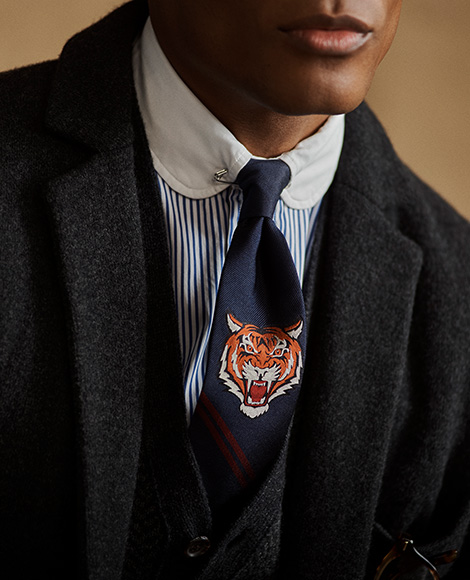 Navy tie with tiger motif & maroon diagonal stripes