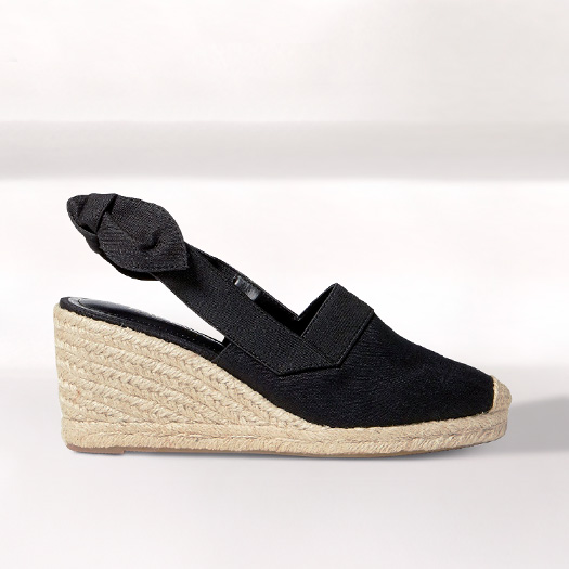 Black canvas espadrille with ankle strap & jute wedge heel