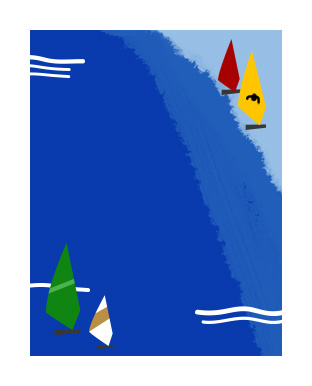 Illustrations of colorful sailboats on the water