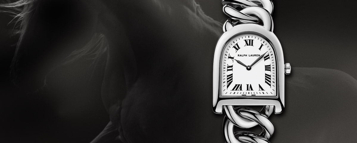 Horseshoe-inspired silver-link-strap watch