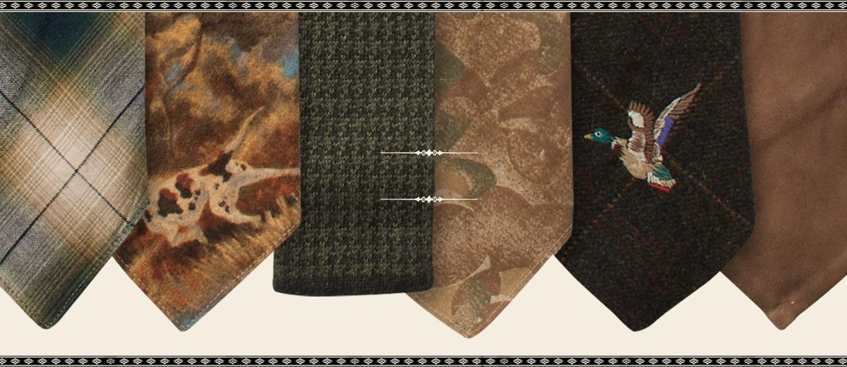 Row of ties in brown shades and with varied prints & motifs