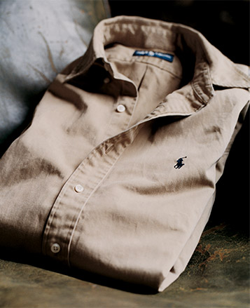 Khaki button-down shirt with Polo Pony at chest