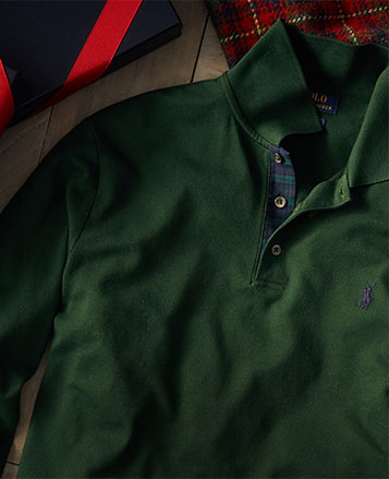 Green Polo shirt with contrasting plaid facing