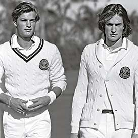 Image of Wimbledon players in white cable sweaters & pants