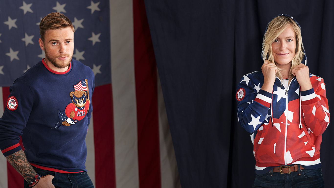 Gus Kenworthy and Jamie Anderson in Ralph Lauren Olympic apparel