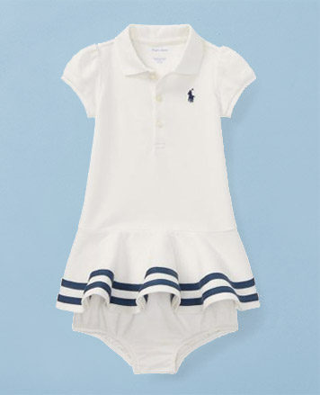 White Polo dress with navy stripes at hem & matching bloomer