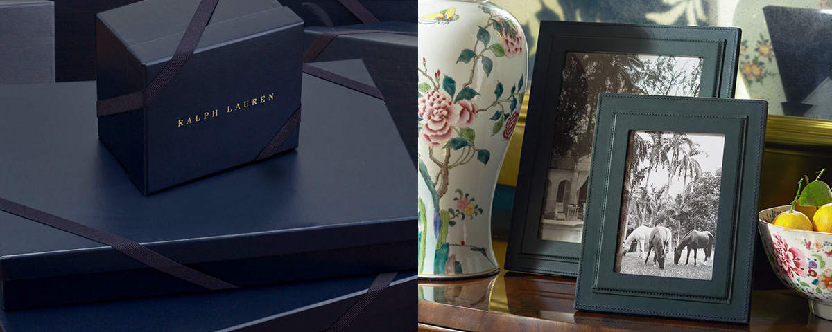 Ralph Lauren–embossed navy gift boxes & picture frames
