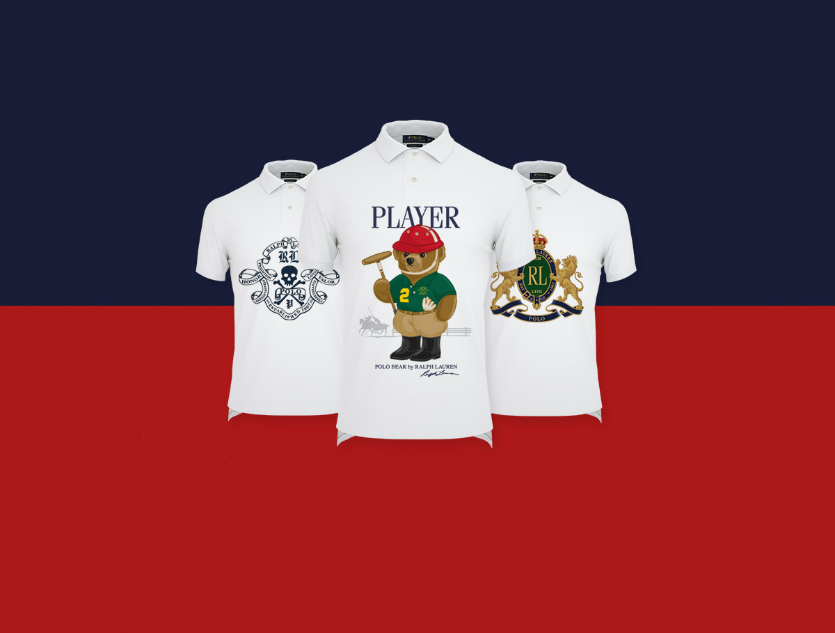 White Polo shirts with exclusive Polo Bear and RL prints