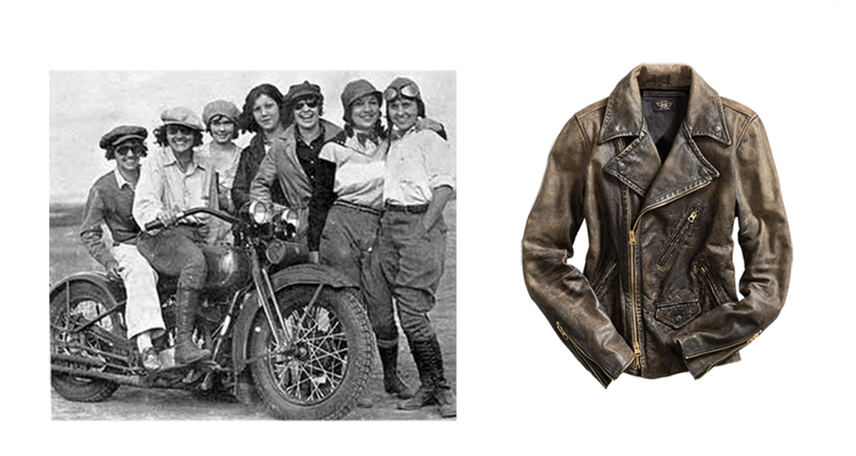 Photograph of women by motorbike beside image of leather moto jacket