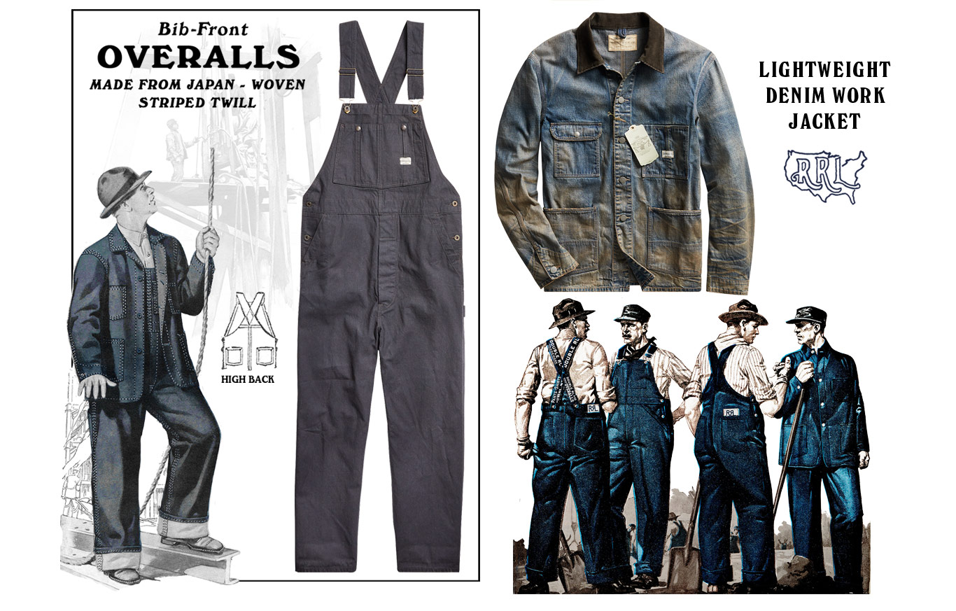 Left: Grey overalls Right: Distressed denim jacket with contrast leather collar