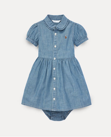 Chambray button-down dress with short puffed sleeves.