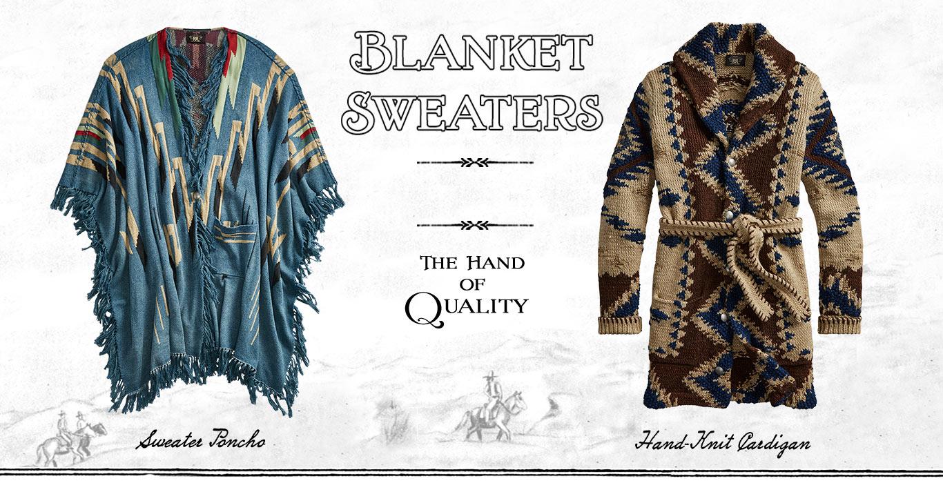 Shawl-collar cardigan & poncho sweater in Southwestern styles