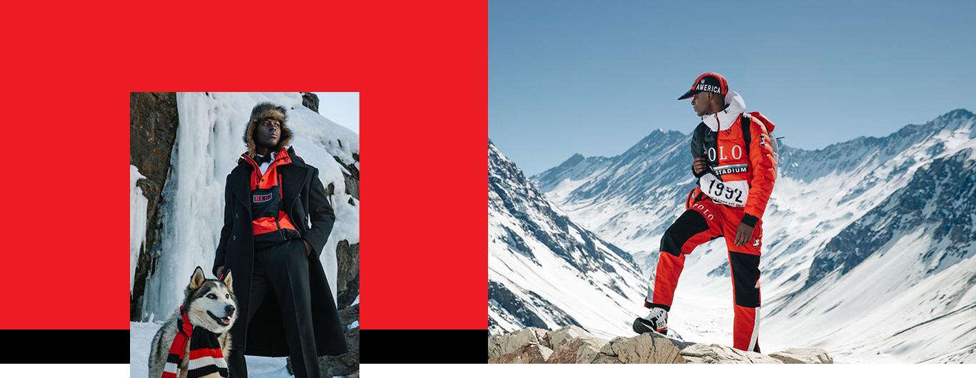 Men on snowy mountains in Winter Stadium apparel