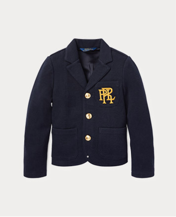 Navy blazer with PRL crest at the chest and gold-tone buttons.