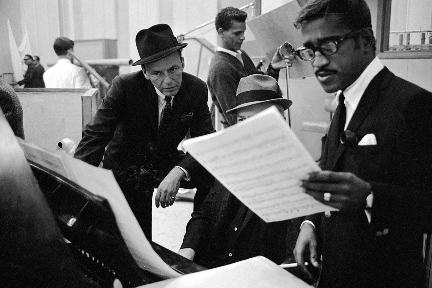 Sinatra, with Sammy Davis Jr., at a 1963 recording session for <em>Come Blow Your Horn</em>