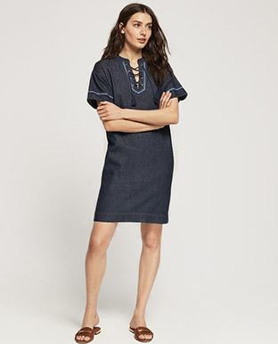Lace-Up Denim Shift Dress