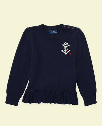 Navy peplum sweater with Intarsia-knit anchor at the chest