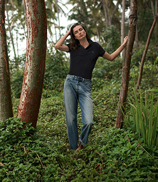 Alternating image of models wearing Earth Polos.
