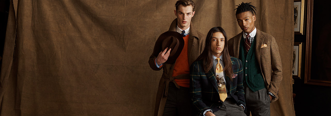 Men in vintage-inspired fall-hued suiting & outerwear