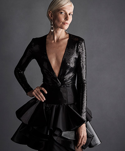 Model wears a made-to-order look from the Fall 2019 Collection.