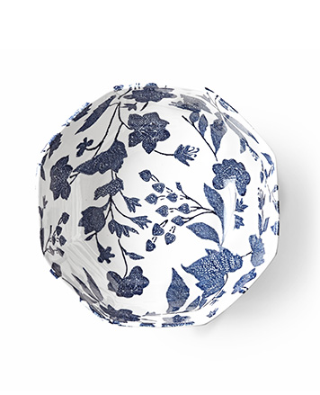 White plate with delicate navy floral pattern